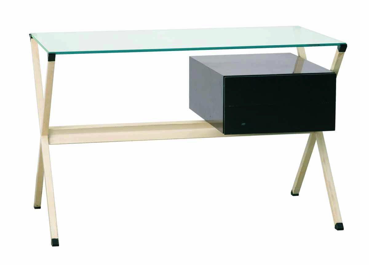 Albini-Schreibtisch-50er-Metall-Glas